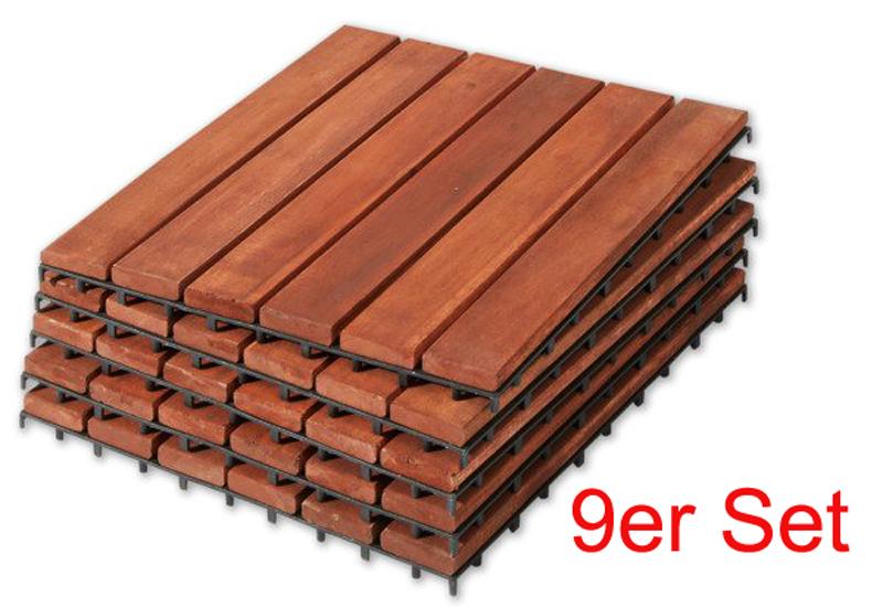 akazie holzfliesen 9 er set platten balkonfliesen fliesen bodenplatten 30x30 cm ebay. Black Bedroom Furniture Sets. Home Design Ideas